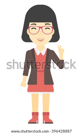 Woman showing a sign of peace. - stock vector