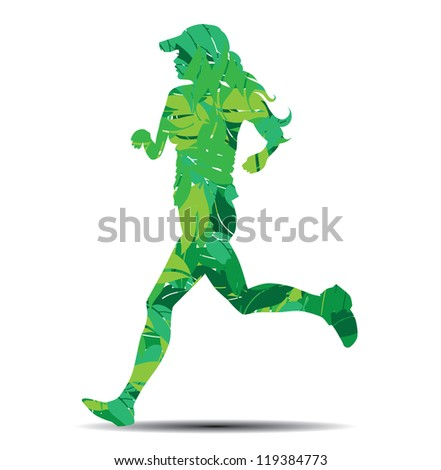 woman silhouette in leaves running vector illustration - stock vector