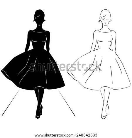 Woman silhouette on the runway - stock vector