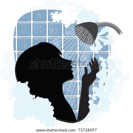 Woman silhouette taking a shower - stock vector