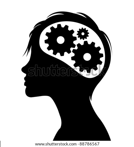 Woman silhouette with thinking brain gears in her head - stock vector