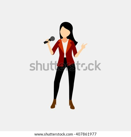 Woman singer character sing a beautiful song with microphone on her hand - stock vector