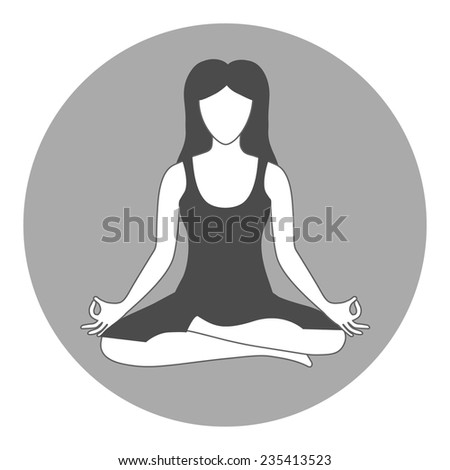 Woman sitting in yoga lotus position - stock vector