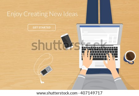 Woman sitting with laptop on the wooden floor and working, hands type a message in social networks. Vector illustration top view of people work or relaxing at home using laptop and typing on computer - stock vector