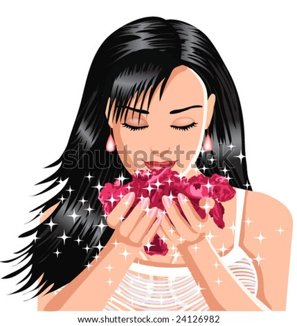 woman smelling flower - stock vector