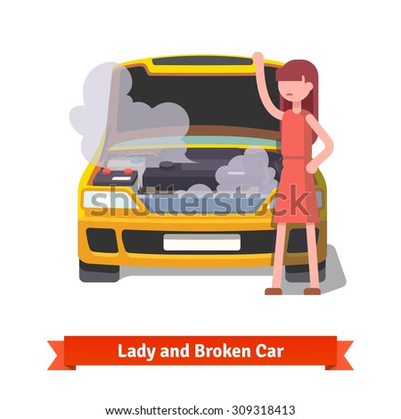 Woman standing and looking under the hood of her broken car covered with steam and smoke. Flat style vector illustration isolated on white background. - stock vector