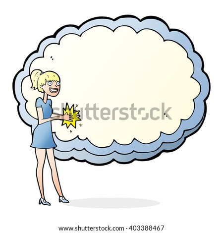 woman standing in front of cloud with space for text - stock vector