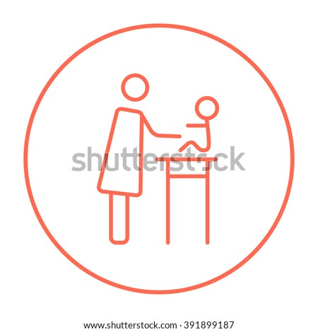 Woman taking care of baby line icon. - stock vector