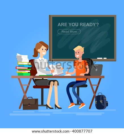 Woman teacher tutor tutoring boy kid at home. Mother helping son with homework. Flat style vector illustration isolated on white background. - stock vector