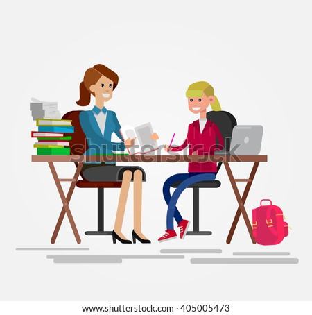 Woman teacher tutor tutoring girl kid at home. Mother helping daughter with homework. Flat style vector illustration isolated on white background. - stock vector