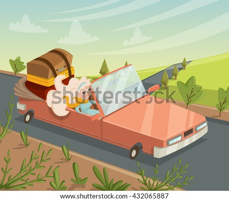 Woman traveling by car. Funny cartoon character. Vector illustration in retro style - stock vector