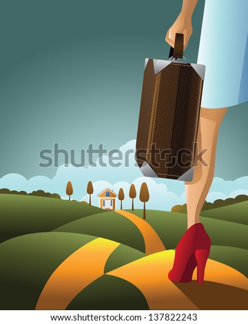 Woman Traveling with Suitcase. EPS 10 vector, grouped for easy editing. No open shapes or paths. - stock vector