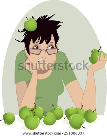 Woman trying to generate an idea. Upset woman is hit by a head with an apple, metaphor for boosting creative thinking, vector illustration, no transparencies  - stock vector