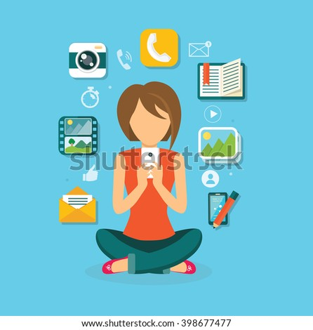 Woman user smartphone design flat. Computer user icon, social media, web user phone, web phone internet, social network communication illustration - stock vector