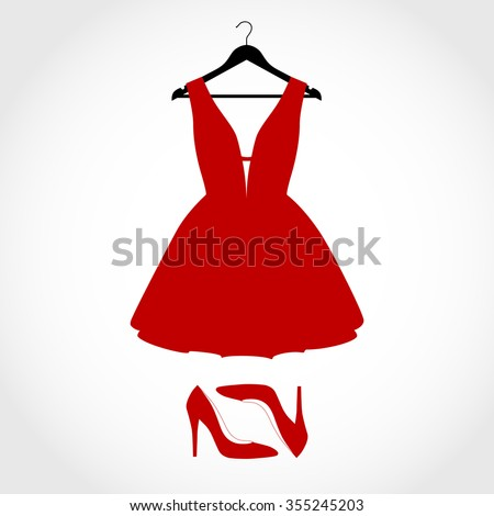 Woman wardrobe accessories set. collection of red dress, black hanger and red shoes. high heel shoes. fashion boutique. vector art illustration isolated on background - stock vector