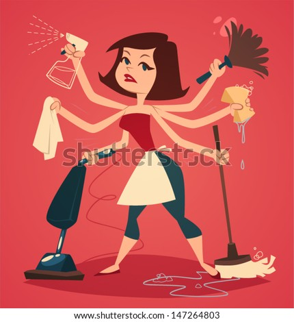 Woman Cleaning Logo Woman Washing And Cleaning
