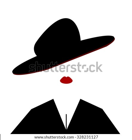 woman wearing large hat tilted on head - stock vector