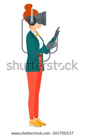 Woman wearing virtual reality headset. - stock vector