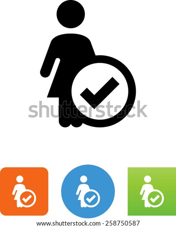 Woman with a checkmark. Vector icons for video, mobile apps, Web sites and print projects.  - stock vector