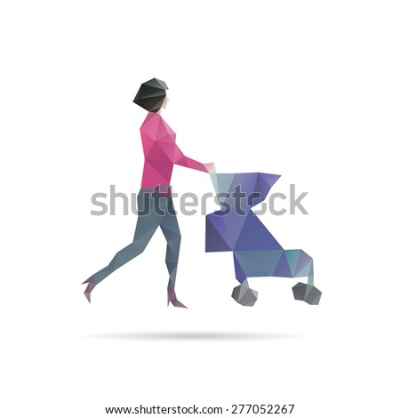 Woman with a stroller abstract, vector illustration - stock vector