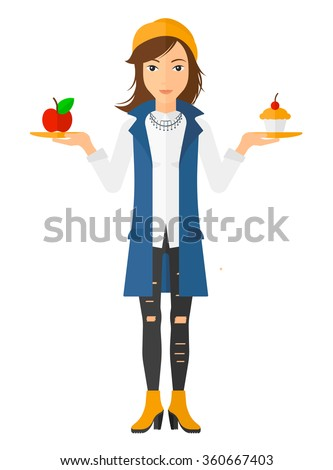 Woman with apple and cake. - stock vector
