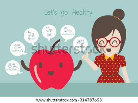 Woman with apple vector cartoon. - stock vector
