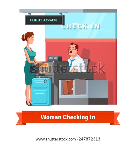 Woman with baggage checking in at the airport with airlines clerk. Flat style illustration or icon. EPS 10 vector. - stock vector
