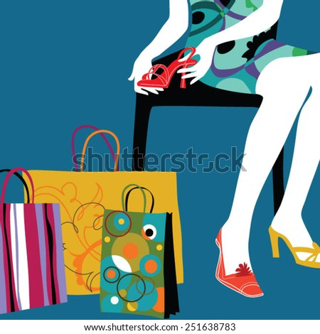 Woman with bags in shopping mall looking at fashionable high heels. - stock vector
