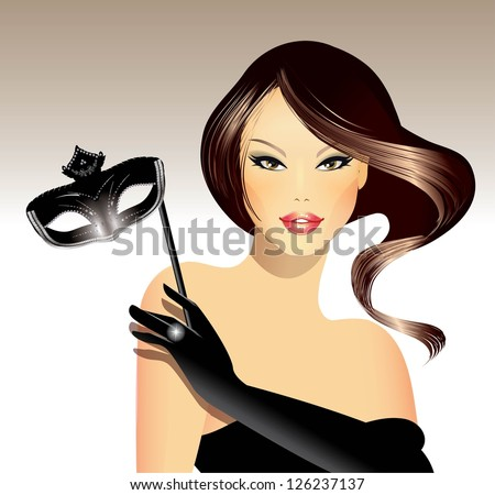 Woman with carnival mask - stock vector