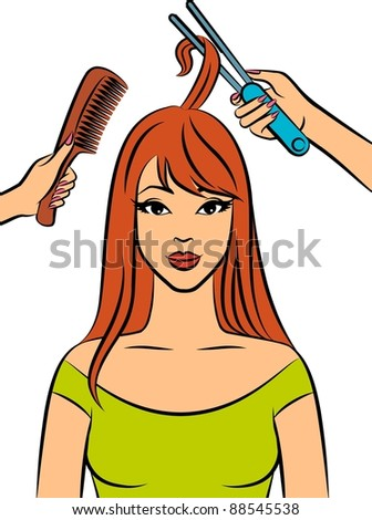 Woman with coiffure in a beauty salon. Vector - stock vector