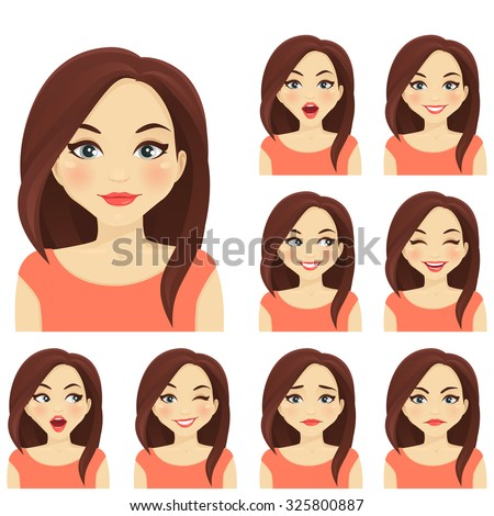 Woman with different facial expressions set - stock vector