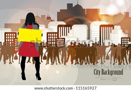 Woman with empty billboard - stock vector