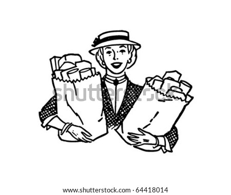Woman With Groceries - Retro Clipart Illustration - stock vector