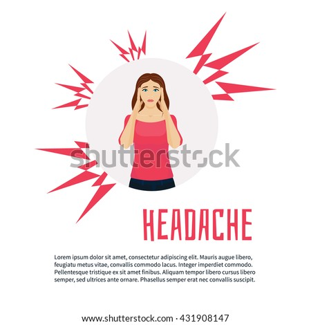 Woman with headache squeezing her head with hands. Vector migraine headache design template with place for text. Woman with acute pain in her head, headache relief. Healthcare and migraine concept - stock vector