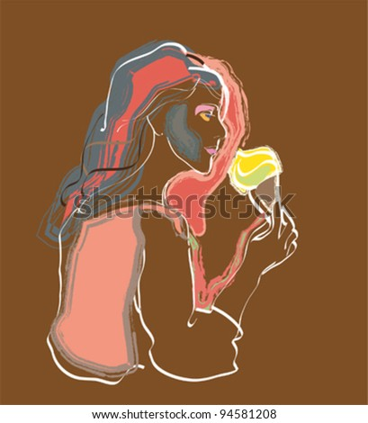 Woman with Ice Cream - stock vector