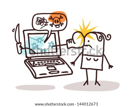 woman with laptop and cyber bullying - stock vector