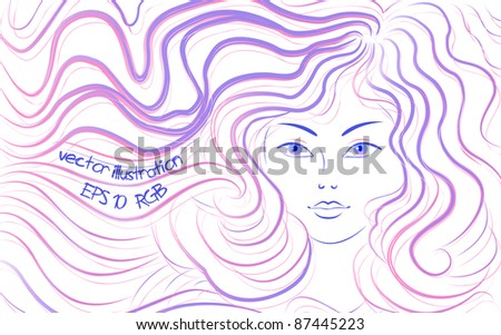 woman with long hair, vector illustration - stock vector