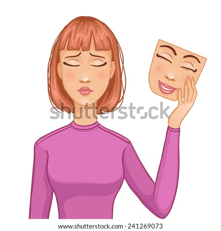 Woman with sad face and mask of happy face in her hand, eps10 - stock vector