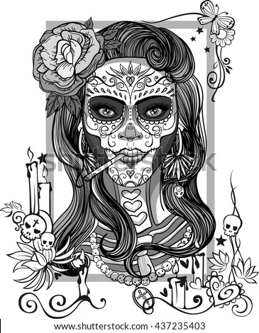 woman with sugar skull makeup, day of the dead - stock vector