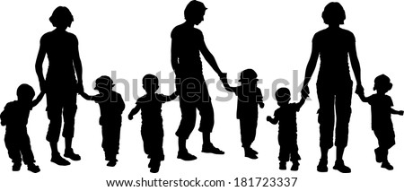 Woman with Two Children - stock vector