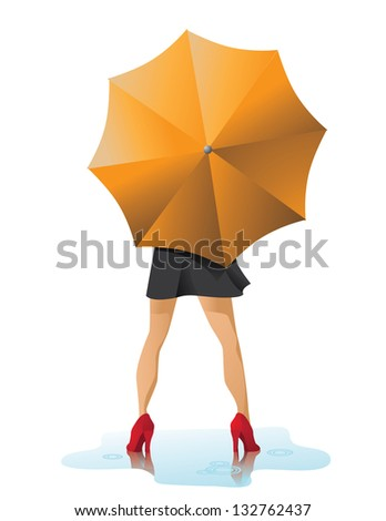 Woman With Umbrella. EPS 8 vector, grouped for easy editing. No open shapes or paths. - stock vector