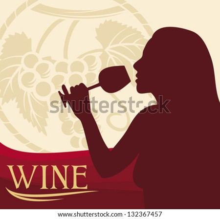 woman with wine glass (wine design, woman holding a glass of wine, woman drinking wine) - stock vector