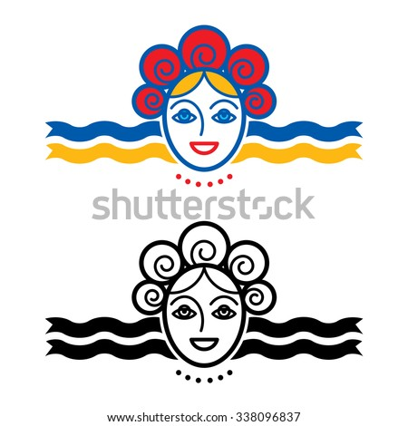 Woman with wreath and ribbons - icon, symbol - stock vector