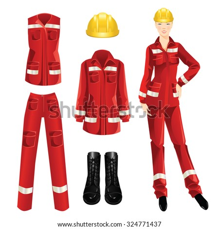 Woman worker in professional uniform. Set of protective wear, shoes and yellow safety helmet on white background - stock vector