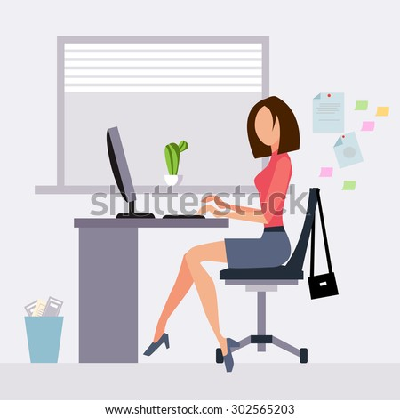 Woman working in office vector illustration flat style - stock vector