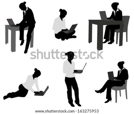 woman working on her notebook silhouettes - stock vector