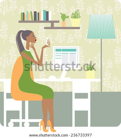woman working on the cozy workplace  - stock vector
