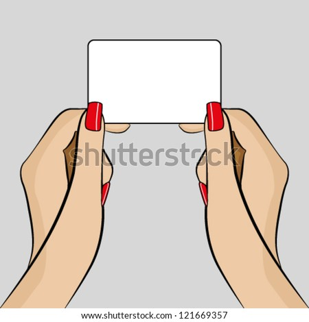Womans hands holding a business card - stock vector