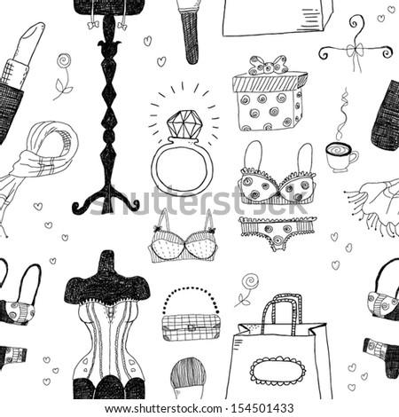 Women accessories seamless pattern - stock vector