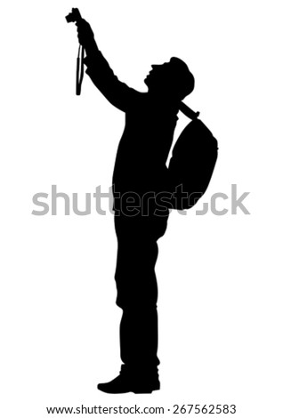 Women and man with a camera on white background - stock vector